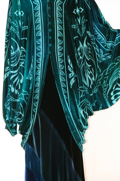 glamorous evening coat in devore velvet