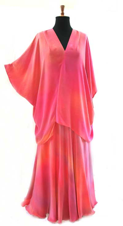 Bias silk skirt and flattering v-neck top