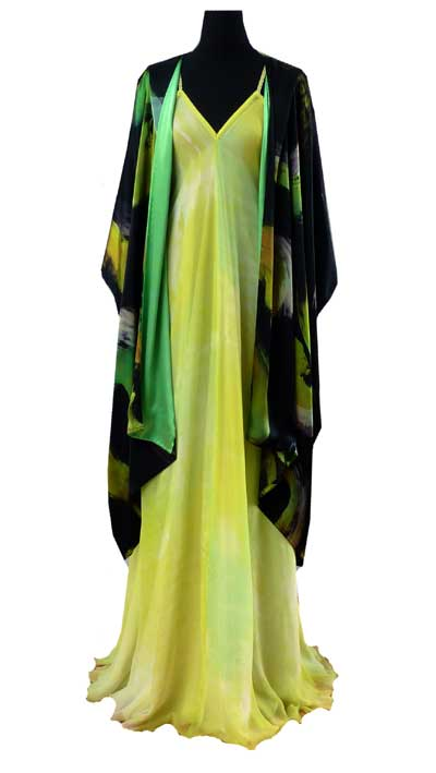 Light weight summer coat painted black and lime