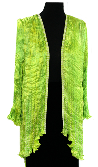 Silk hand pleated tail coat in lime green