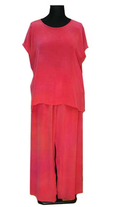 silk wide trousers with simple top plus size