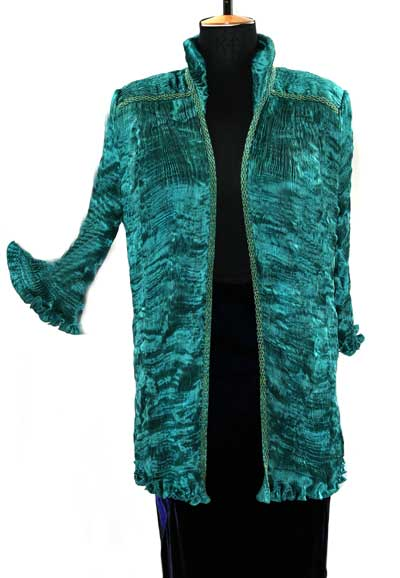 Glamorous pleated silk jacket for Mother of the Bride