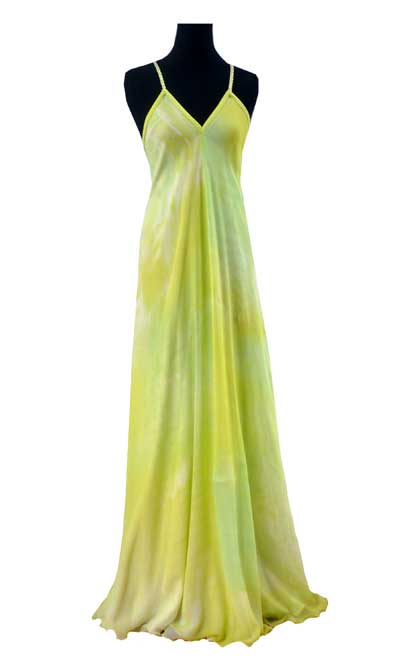 Fine silk marbled gown for wedding abroad