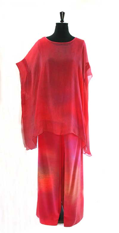 Fine silk feminine top over modesty blouse and trousers