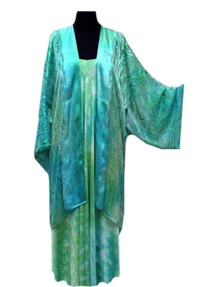 Kimono coat lightweight satin devore luxury