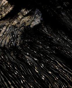 black pleated beaded